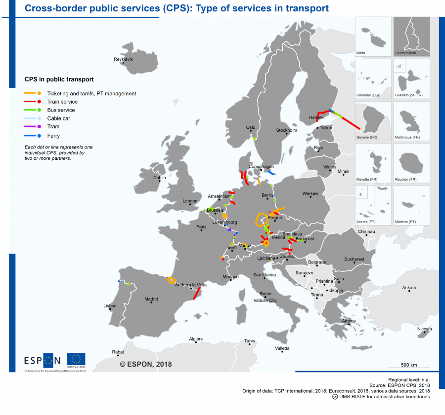 The map shows the location of cross-border public transport services at EU borders. It differentiates by modes of services, namely trains, buses, cable car, tram and ferry. It also shows where cross-border ticketing and tarrif services for public transport have been in place in 2018.