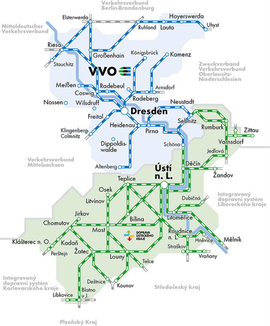 The image shows a map depicting the lines of VVO in Saxony and in the neighbouring Czech region that are covered under the Elbe-Labe tarrif zone tickets.